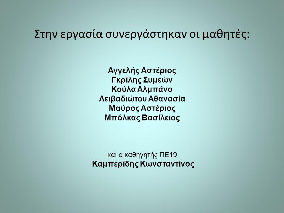 Στην εργασία συνεργάστηκαν οι μαθητές: Αγγελής Αστέριος Γκρίλης Συμεών Κούλα Αλμπάνο Λειβαδιώτου Αθανασία Μαύρος Αστέριος Μπόλκας Βασίλειος και ο καθηγητής ΠΕ19 Καμπερίδης Κωνσταντίνος