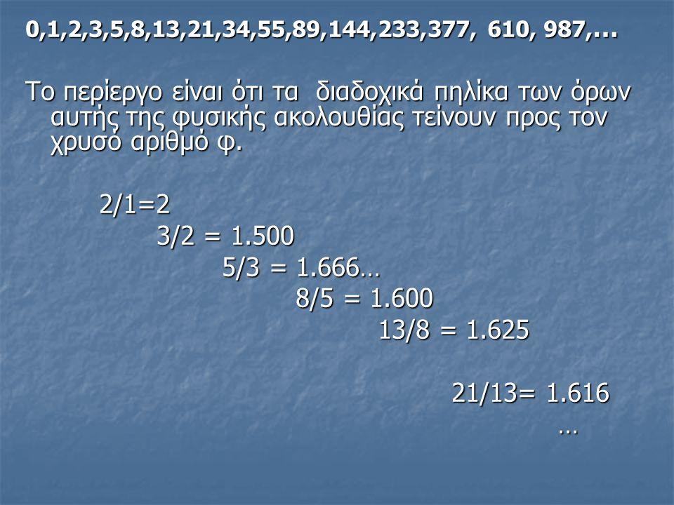 0,1,2,3,5,8,13,21,34,55,89,144,233,377, 610, 987, … Το περίεργο είναι ότι τα διαδοχικά πηλίκα των όρων αυτής της φυσικής ακολουθίας τείνουν προς τον χ