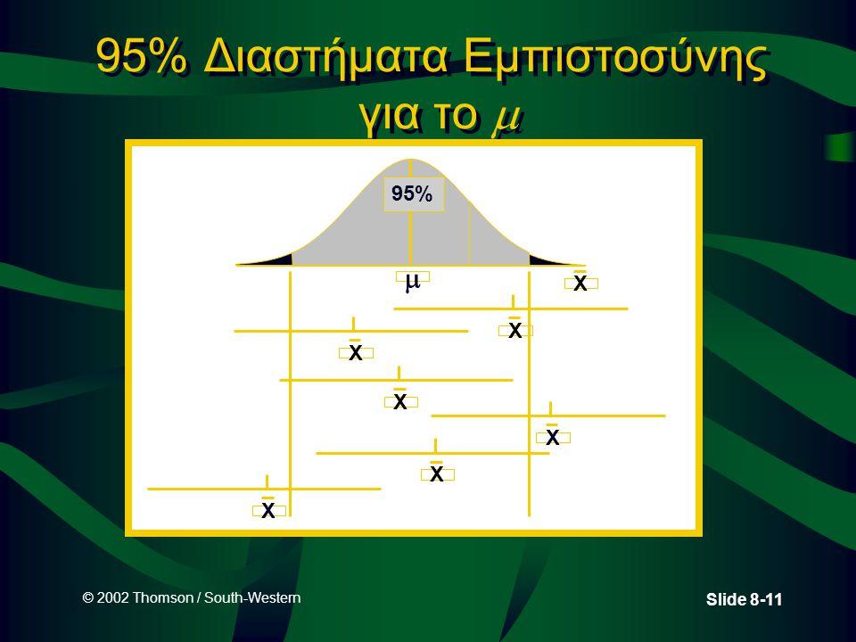 © 2002 Thomson / South-Western Slide 8-11 95% Διαστήματα Εμπιστοσύνης για το   X 95% X X X X X X