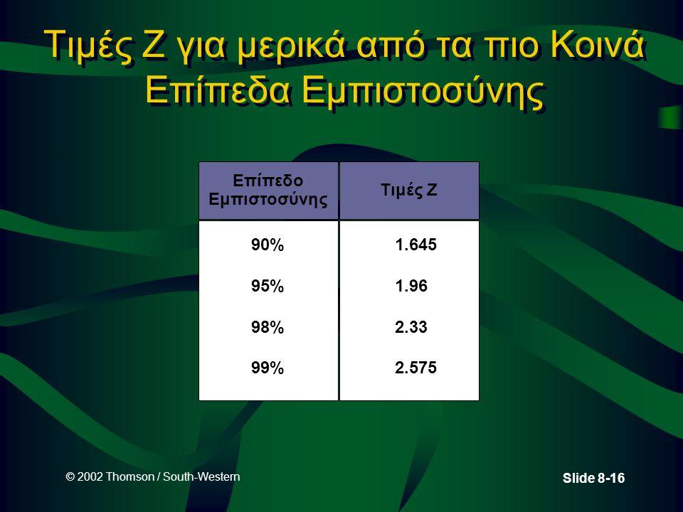 © 2002 Thomson / South-Western Slide 8-16 Τιμές Z για μερικά από τα πιο Κοινά Επίπεδα Εμπιστοσύνης 90% 95% 98% 99% Επίπεδο Εμπιστοσύνης Τιμές Z 1.645 1.96 2.33 2.575