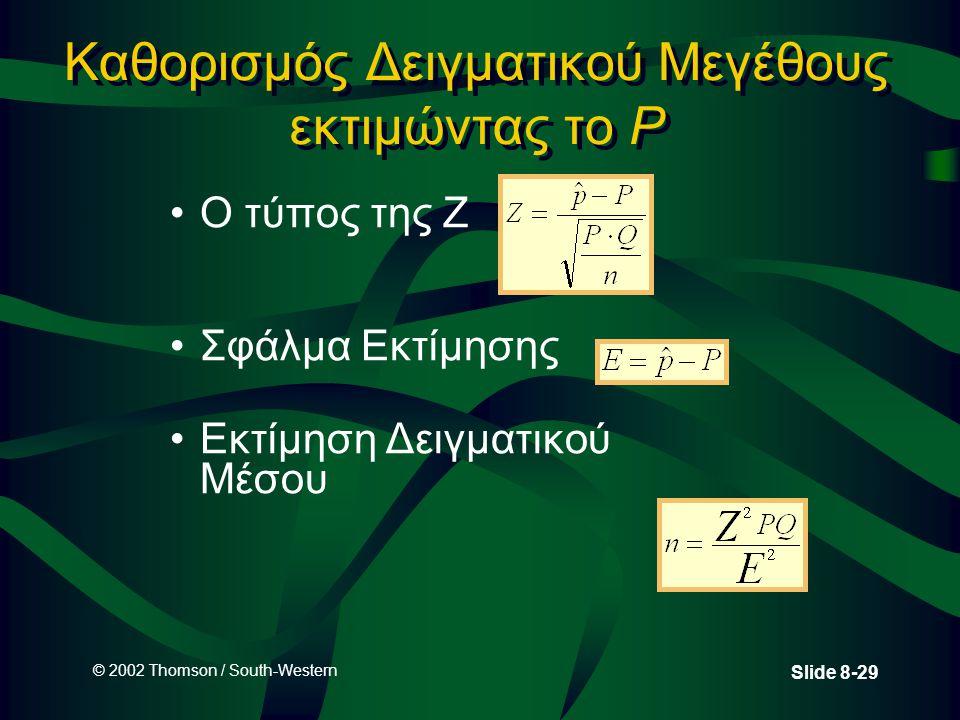 © 2002 Thomson / South-Western Slide 8-29 Καθορισμός Δειγματικού Μεγέθους εκτιμώντας το P Ο τύπος της Z Σφάλμα Εκτίμησης Εκτίμηση Δειγματικού Μέσου
