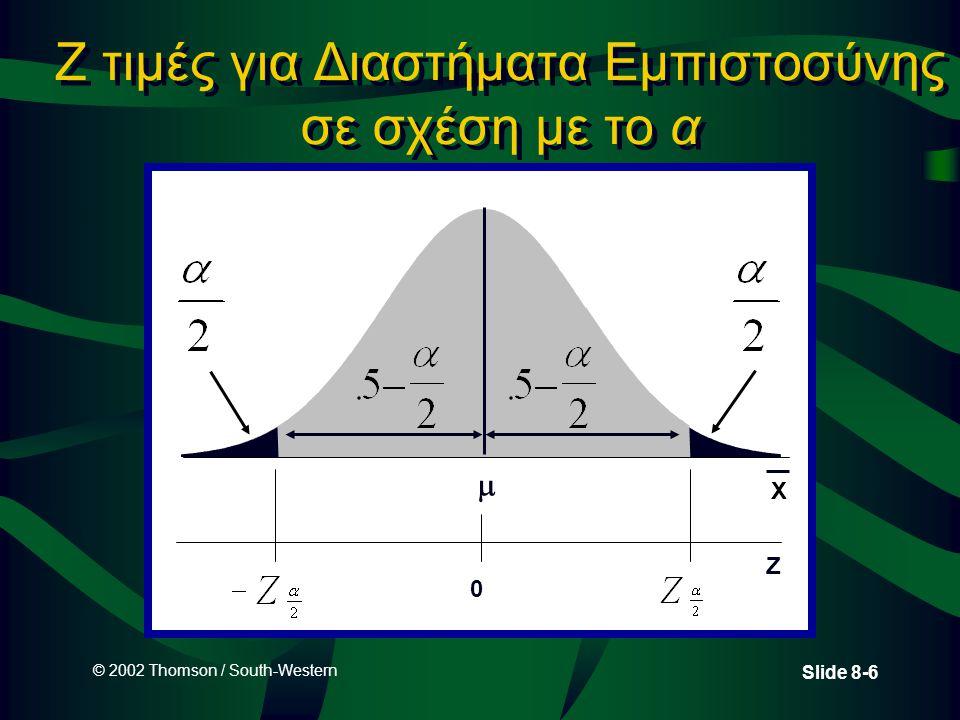 © 2002 Thomson / South-Western Slide 8-6 Z τιμές για Διαστήματα Εμπιστοσύνης σε σχέση με το α  X Z 0