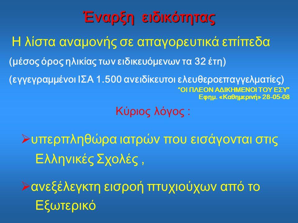 Κύριος λόγος :  υπερπληθώρα ιατρών που εισάγονται στις Ελληνικές Σχολές,  ανεξέλεγκτη εισροή πτυχιούχων από το Εξωτερικό Έναρξη ειδικότητας Η λίστα αναμονής σε απαγορευτικά επίπεδα (μέσος όρος ηλικίας των ειδικευόμενων τα 32 έτη) (εγγεγραμμένοι ΙΣΑ 1.500 ανειδίκευτοι ελευθεροεπαγγελματίες) ΟΙ ΠΛΕΟΝ ΑΔΙΚΗΜΕΝΟΙ ΤΟΥ ΕΣΥ Εφημ.