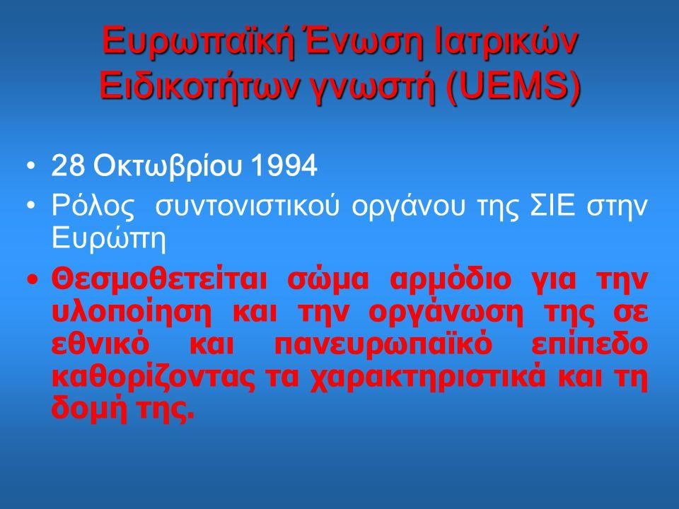 Ευρωπαϊκή Ένωση Ιατρικών Ειδικοτήτων γνωστή (UEMS) 28 Οκτωβρίου 1994 Ρόλος συντονιστικού οργάνου της ΣΙΕ στην Ευρώπη Θεσμοθετείται σώμα αρμόδιο για την υλοποίηση και την οργάνωση της σε εθνικό και πανευρωπαϊκό επίπεδο καθορίζοντας τα χαρακτηριστικά και τη δομή της.