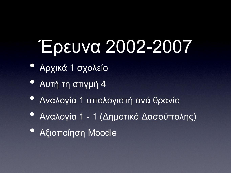 Έρευνα 2002-2007 Αρχικά 1 σχολείο Αυτή τη στιγμή 4 Αναλογία 1 υπολογιστή ανά θρανίο Αναλογία 1 - 1 (Δημοτικό Δασούπολης) Aξιοποίηση Moodle