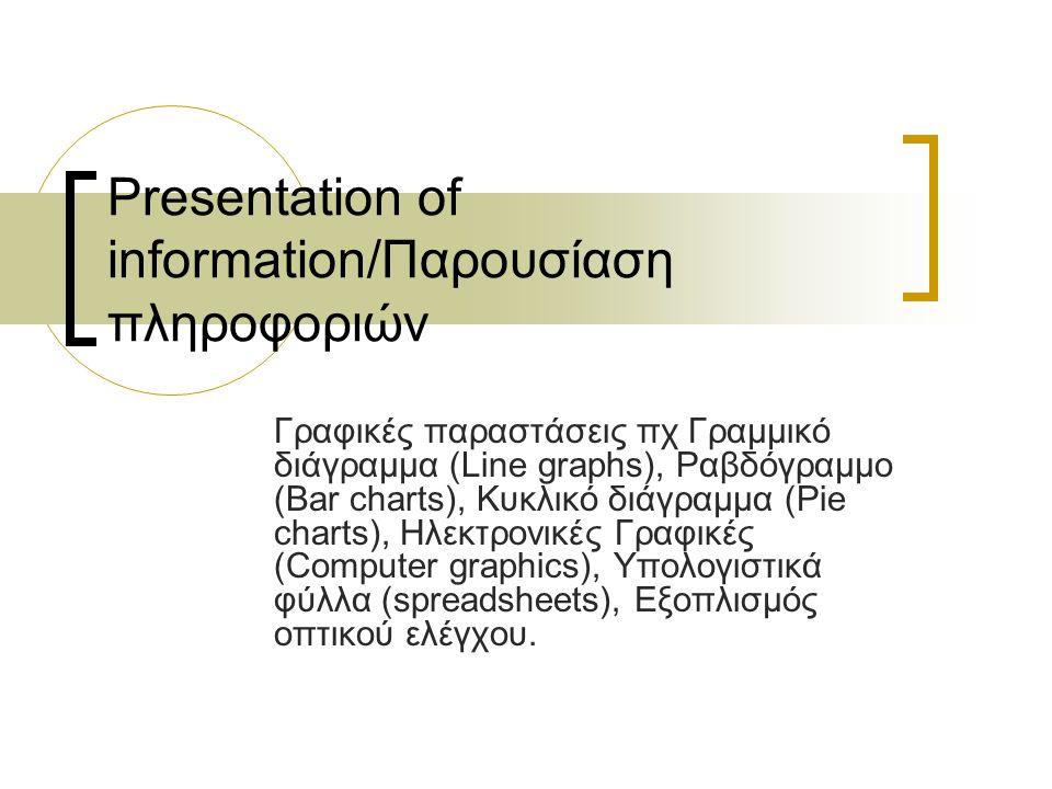 Παρουσίαση πληροφοριών/Γραφικές παραστάσεις Οι γραφικές παραστάσεις είναι ένας πολύ αποτελεσματικός τρόπος παρουσίασης ή μετάδοσης στατιστικών πληροφοριών, που μπορεί να αναφέρονται σε διάφορες δραστηριότητες της επιχείρησης, στα οικονομικά της αποτελέσματα, στην οικονομική της κατάσταση, στην οργανωτική της διάρθρωση κλπ.