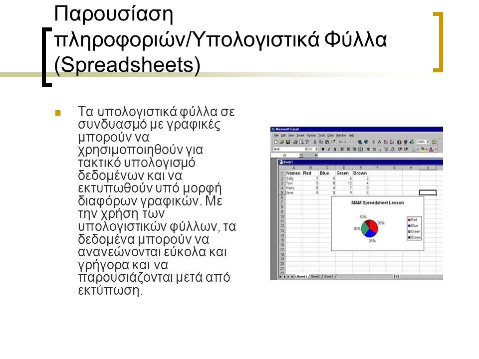 Παρουσίαση πληροφοριών/Υπολογιστικά Φύλλα (Spreadsheets) Τα υπολογιστικά φύλλα σε συνδυασμό με γραφικές μπορούν να χρησιμοποιηθούν για τακτικό υπολογι