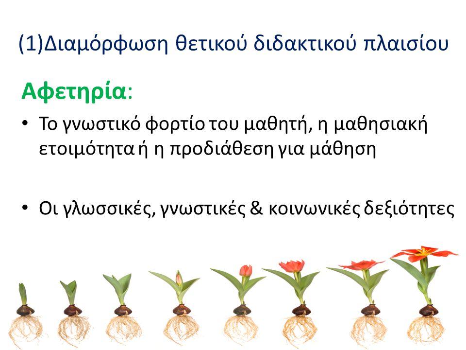 (2)Διαμόρφωση θετικού διδακτικού πλαισίου Οργάνωση &Κοινωνική δομή της τάξης: Διαπροσωπικές σχέσεις (ανταγωνιστικές, συνεργατικές, ουδέτερες) Προσδοκίες εκπαιδευτικού Πολιτιστική αποδοχή Σύστημα στήριξης (αμοιβές, ποινές) Υλικά περιβάλλον
