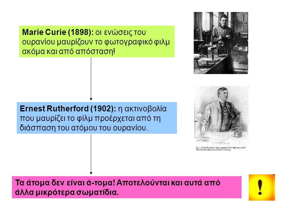 Marie Curie (1898): οι ενώσεις του ουρανίου μαυρίζουν το φωτογραφικό φιλμ ακόμα και από απόσταση! Ernest Rutherford (1902): η ακτινοβολία που μαυρίζει