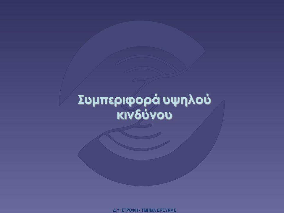 Δ.Υ. ΣΤΡΟΦΗ - ΤΜΗΜΑ ΕΡΕΥΝΑΣ Συμπεριφορά υψηλού κινδύνου