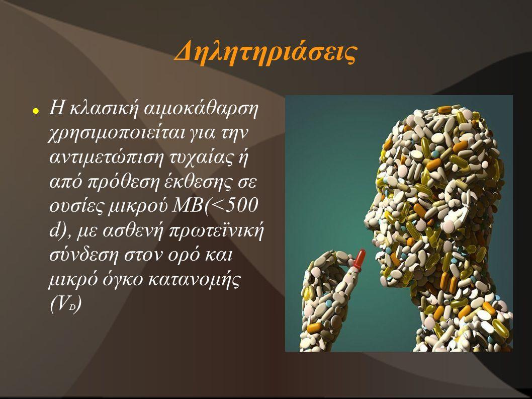 Δηλητηριάσεις Η κλασική αιμοκάθαρση χρησιμοποιείται για την αντιμετώπιση τυχαίας ή από πρόθεση έκθεσης σε ουσίες μικρού ΜΒ(<500 d), με ασθενή πρωτεϊνι
