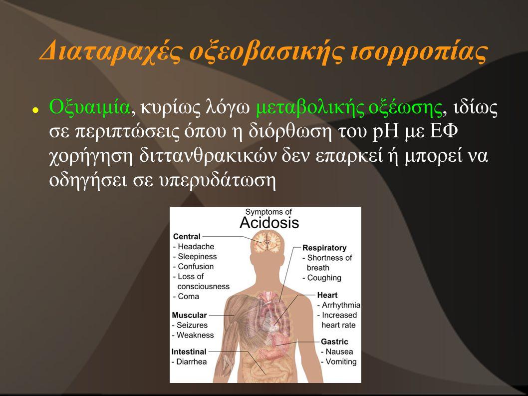 Διαταραχές οξεοβασικής ισορροπίας Οξυαιμία, κυρίως λόγω μεταβολικής οξέωσης, ιδίως σε περιπτώσεις όπου η διόρθωση του pH με ΕΦ χορήγηση διττανθρακικών δεν επαρκεί ή μπορεί να οδηγήσει σε υπερυδάτωση