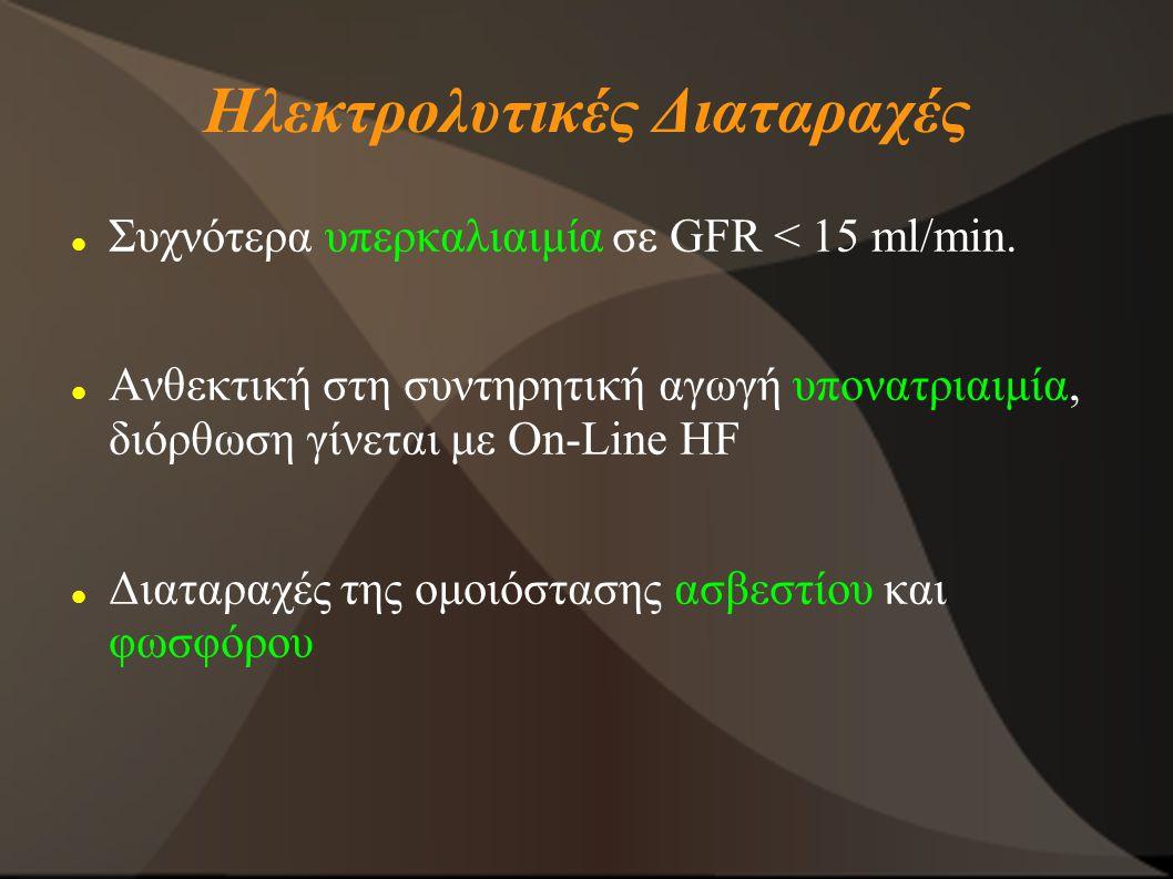 Ηλεκτρολυτικές Διαταραχές Συχνότερα υπερκαλιαιμία σε GFR < 15 ml/min. Ανθεκτική στη συντηρητική αγωγή υπονατριαιμία, διόρθωση γίνεται με On-Line HF Δι