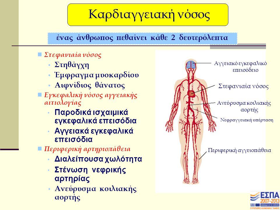 Στεφανιαία νόσος Στηθάγχη Έμφραγμα μυοκαρδίου Αιφνίδιος θάνατος Εγκεφαλική νόσος αγγειακής αιτιολογίας Παροδικά ισχαιμικά εγκεφαλικά επεισόδια Αγγειακά εγκεφαλικά επεισόδια Περιφερική αρτηριοπάθεια Διαλείπουσα χωλότητα Στένωση νεφρικής αρτηρίας Ανεύρυσμα κοιλιακής αορτής ένας άνθρωπος πεθαίνει κάθε 2 δευτερόλεπτα Αγγειακό εγκεφαλικό επεισόδειο Στεφανιαία νόσος Ανεύρυσμα κοιλιακής αορτής Νεφραγγειακή υπέρταση Περιφερική αγγειοπάθεια Καρδιαγγειακή νόσος