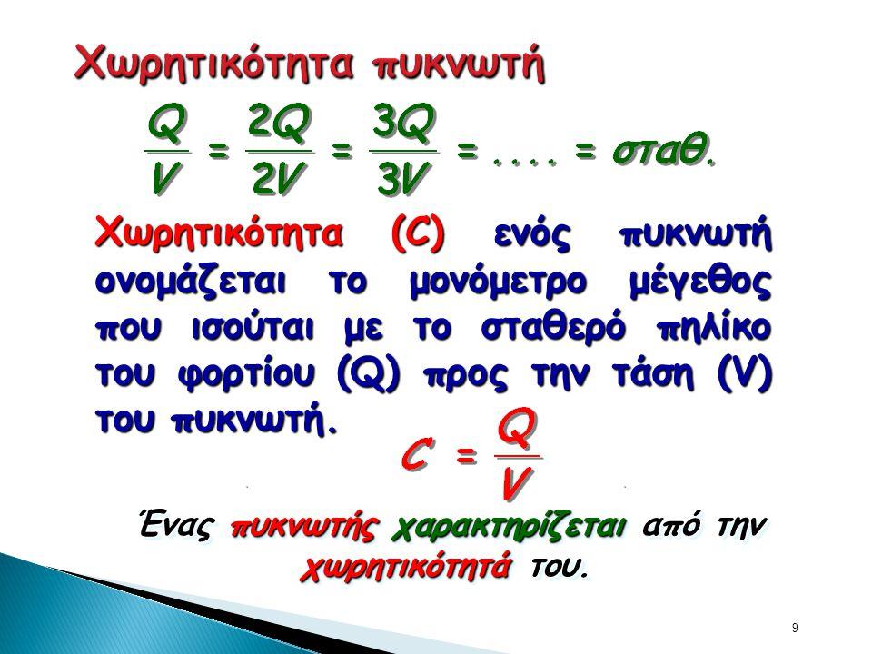 9 Χωρητικότητα (C) ενός πυκνωτή ονομάζεται το μονόμετρο μέγεθος που ισούται με το σταθερό πηλίκο του φορτίου (Q) προς την τάση (V) του πυκνωτή. Ένας π