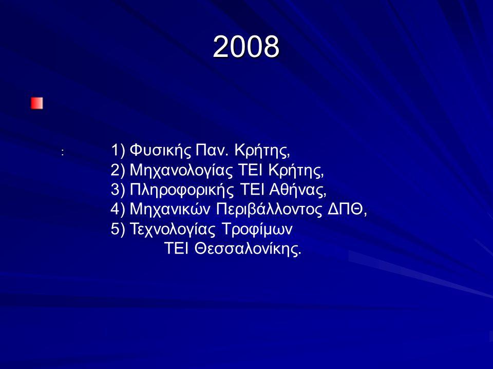 2008 : 1) Φυσικής Παν. Κρήτης, 2) Μηχανολογίας ΤΕΙ Κρήτης, 3) Πληροφορικής ΤΕΙ Αθήνας, 4) Μηχανικών Περιβάλλοντος ΔΠΘ, 5) Τεχνολογίας Τροφίμων ΤΕΙ Θεσ