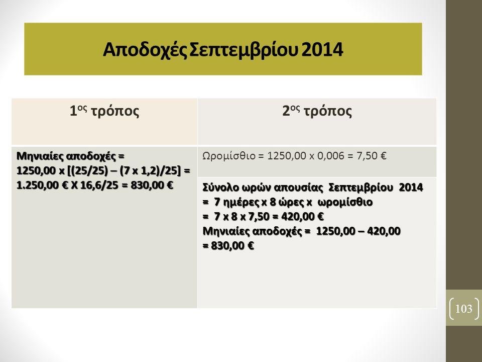 103 Αποδοχές Σεπτεμβρίου 2014 1 ος τρόπος2 ος τρόπος Μηνιαίες αποδοχές = 1250,00 x [(25/25) – (7 x 1,2)/25] = 1.250,00 € X 16,6/25 = 830,00 € Ωρομίσθι
