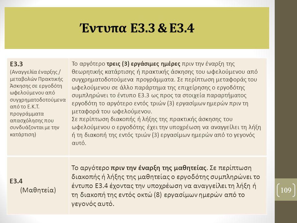 Έντυπα Ε3.3 & Ε3.4 109 Ε3.3 (Αναγγελία έναρξης / μεταβολών Πρακτικής Άσκησης σε εργοδότη ωφελούμενου από συγχρηματοδοτούμενα από το Ε.Κ.Τ. προγράμματα