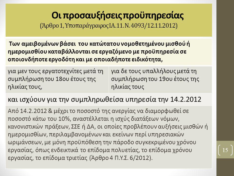Οι προσαυξήσεις προϋπηρεσίας (Άρθρο 1, Υποπαράγραφος ΙΑ.11. Ν. 4093/12.11.2012) 15 Των αμειβομένων βάσει του κατώτατου νομοθετημένου μισθού ή ημερομισ
