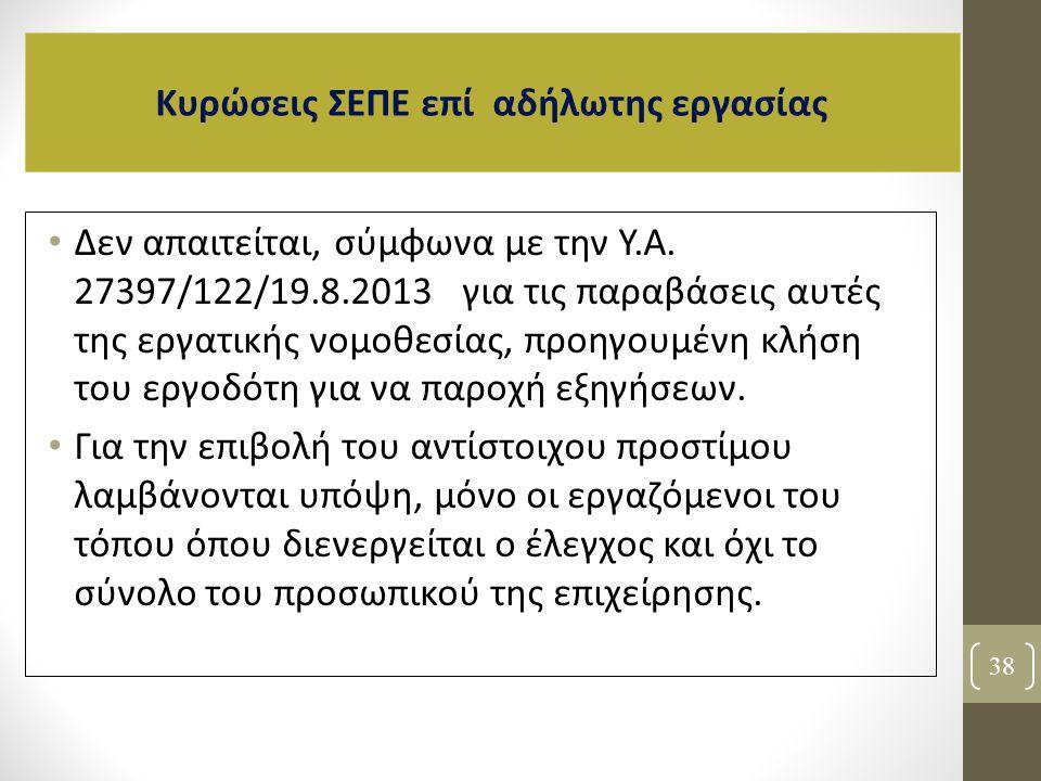 Δεν απαιτείται, σύμφωνα με την Υ.Α. 27397/122/19.8.2013 για τις παραβάσεις αυτές της εργατικής νομοθεσίας, προηγουμένη κλήση του εργοδότη για να παροχ
