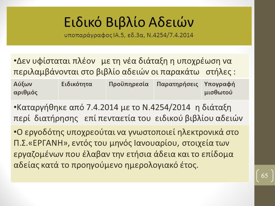 65 Ειδικό Βιβλίο Αδειών υποπαράγραφος ΙΑ.5, εδ.3α, Ν.4254/7.4.2014 Δεν υφίσταται πλέον με τη νέα διάταξη η υποχρέωση να περιλαμβάνονται στο βιβλίο αδε