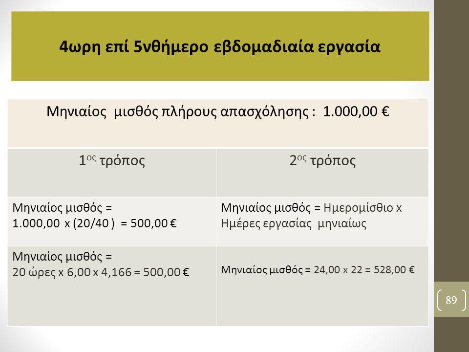 89 4ωρη επί 5νθήμερο εβδομαδιαία εργασία Μηνιαίος μισθός πλήρους απασχόλησης : 1.000,00 € 1 ος τρόπος2 ος τρόπος Μηνιαίος μισθός = 1.000,00 x (20/40 )