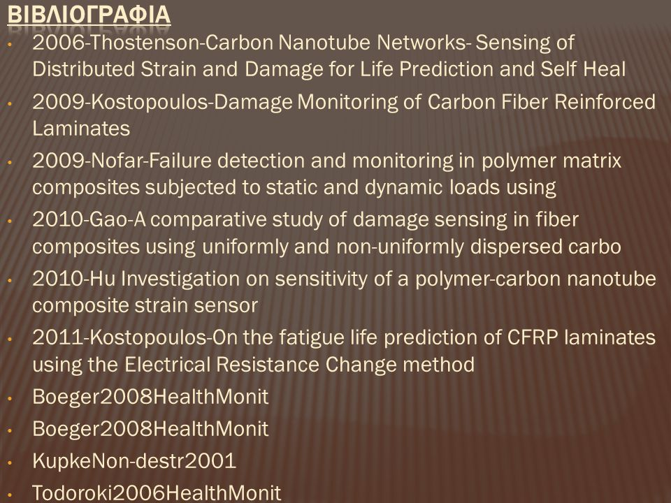 2006-Thostenson-Carbon Nanotube Networks- Sensing of Distributed Strain and Damage for Life Prediction and Self Heal 2009-Kostopoulos-Damage Monitorin