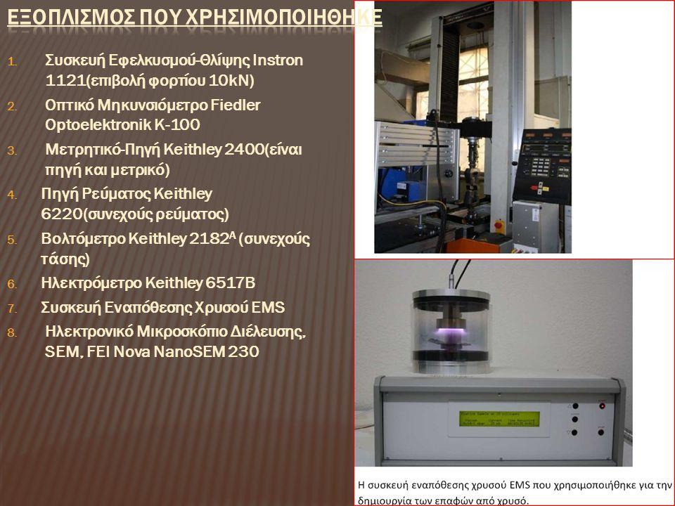 1. Συσκευή Εφελκυσμού-Θλίψης Instron 1121(επιβολή φορτίου 10kN) 2. Οπτικό Μηκυνσιόμετρο Fiedler Optoelektronik Κ-100 3. Μετρητικό-Πηγή Keithley 2400(ε