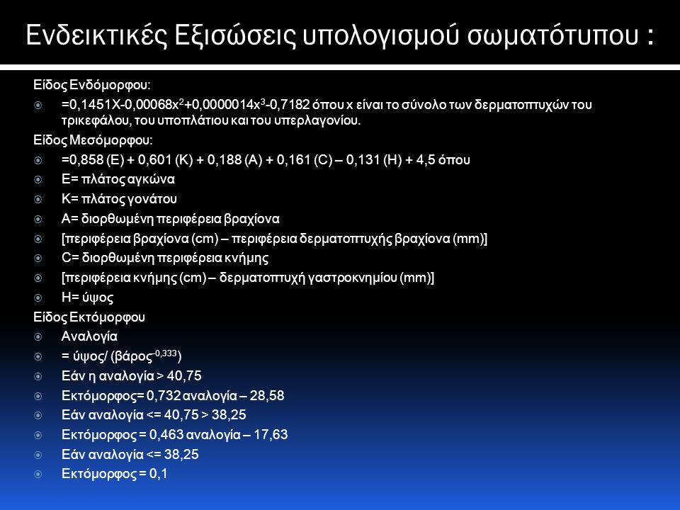 Ενδεικτικές Εξισώσεις υπολογισμού σωματότυπου : Είδος Ενδόμορφου:  =0,1451X-0,00068x 2 +0,0000014x 3 -0,7182 όπου x είναι το σύνολο των δερματοπτυχών του τρικεφάλου, του υποπλάτιου και του υπερλαγονίου.