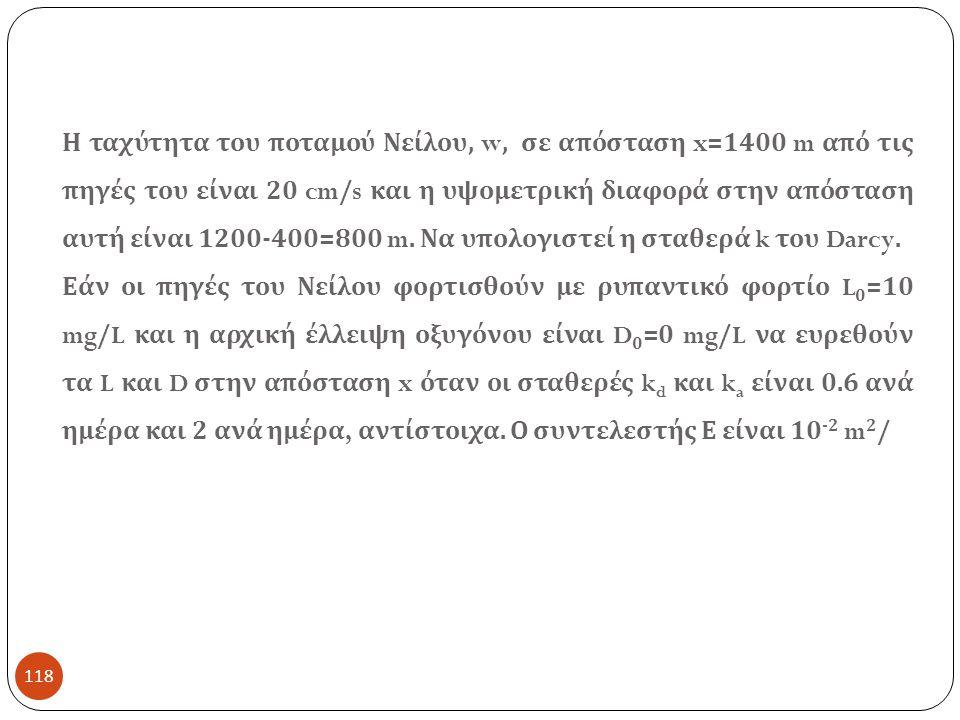 118 Η ταχύτητα του ποταμού Νείλου, w, σε απόσταση x=1400 m από τις πηγές του είναι 20 cm/s και η υψομετρική διαφορά στην απόσταση αυτή είναι 1200-400=800 m.