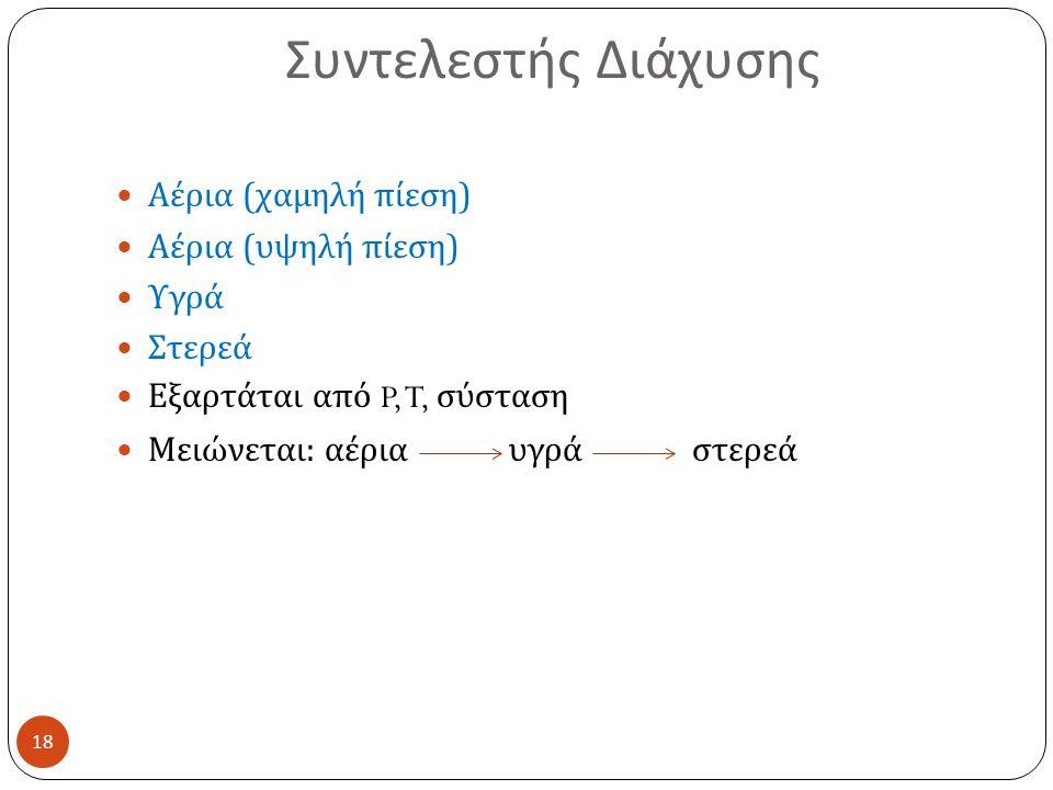 Συντελεστής Διάχυσης 18 Αέρια ( χαμηλή πίεση ) Αέρια ( υψηλή πίεση ) Υγρά Στερεά Εξαρτάται από P, T, σύσταση Μειώνεται : αέρια υγρά στερεά
