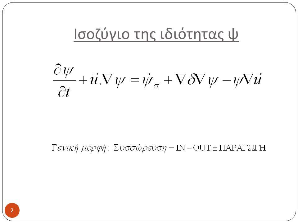 Απλοποίηση συμβόλων 13 Ταχύτητες + ρυθμοί μεταφοράςΔιανυσματικά μεγέθη Ορίζονται ως προς Kg, mol x,y,z x, z, r r, θ, φ Μονοδιάστατη μεταφορά Όχι δείκτης κατεύθυνσης