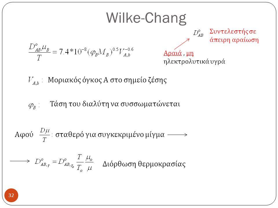 Wilke-Chang 32 Αραιά, μη ηλεκτρολυτικά υγρά Συντελεστής σε άπειρη αραίωση Μοριακός όγκος Α στο σημείο ζέσης Τάση του διαλύτη να συσσωματώνεται Αφού σταθερό για συγκεκριμένο μίγμα Διόρθωση θερμοκρασίας