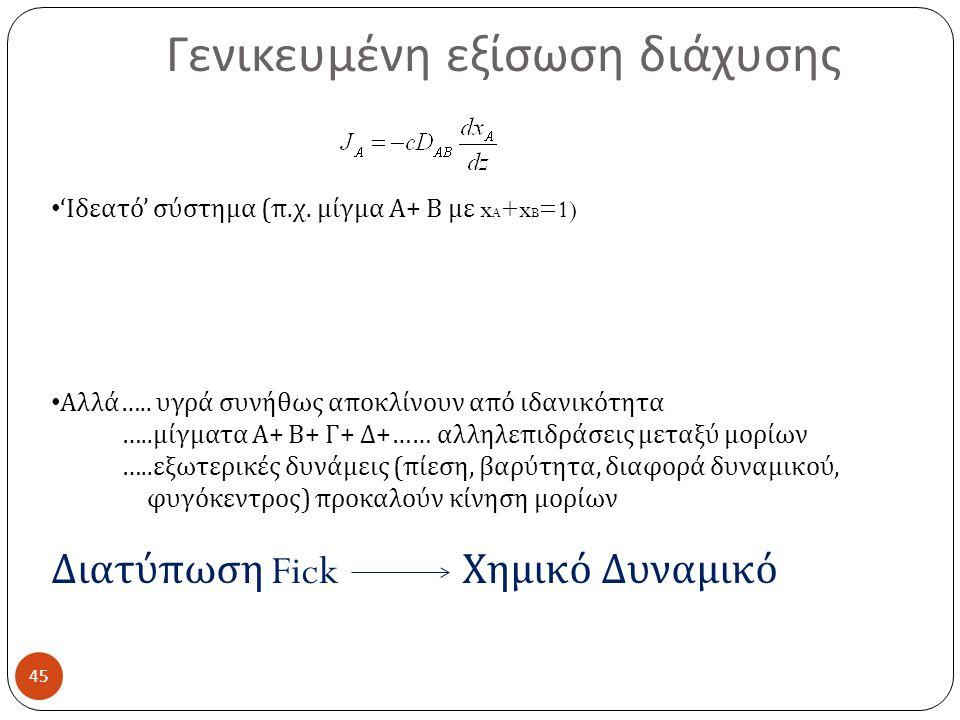 Γενικευμένη εξίσωση διάχυσης 45 ' Ιδεατό ' σύστημα ( π.