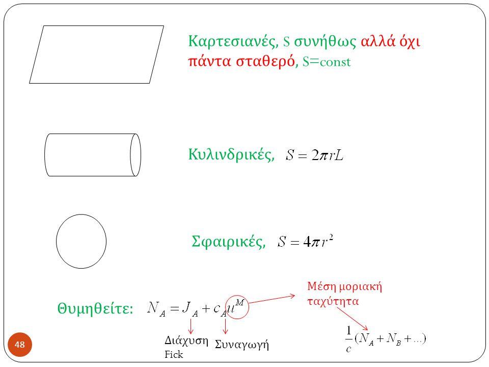48 Καρτεσιανές, S συνήθως αλλά όχι πάντα σταθερό, S=const Κυλινδρικές, Σφαιρικές, Θυμηθείτε : Διάχυση Fick Συναγωγή Μέση μοριακή ταχύτητα