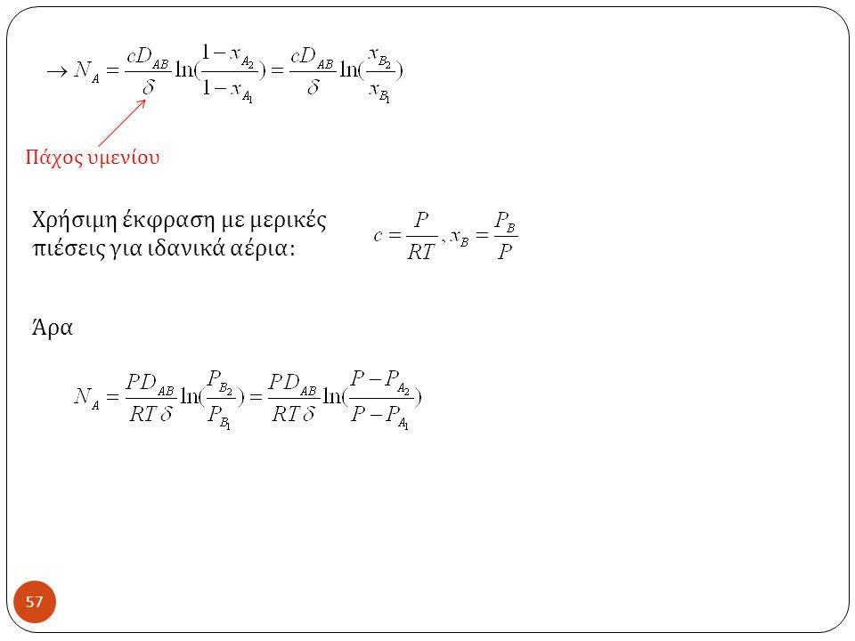 57 Πάχος υμενίου Χρήσιμη έκφραση με μερικές πιέσεις για ιδανικά αέρια : Άρα