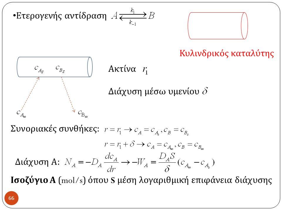 66 Ετερογενής αντίδραση Κυλινδρικός καταλύτης Ακτίνα Διάχυση μέσω υμενίου Συνοριακές συνθήκες : Διάχυση Α : Ισοζύγιο Α (mol/s) όπου S μέση λογαριθμική επιφάνεια διάχυσης