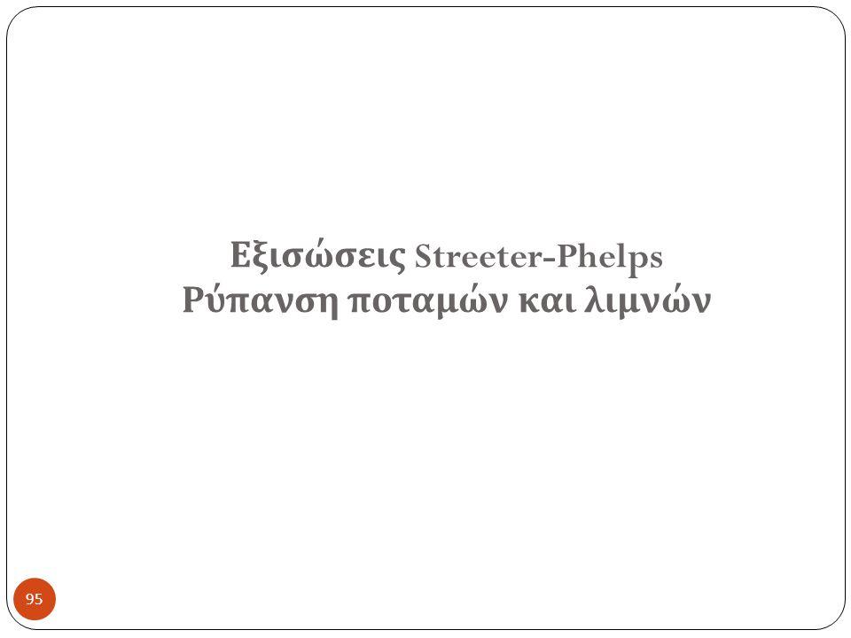 95 Εξισώσεις Streeter-Phelps Ρύπανση ποταμών και λιμνών