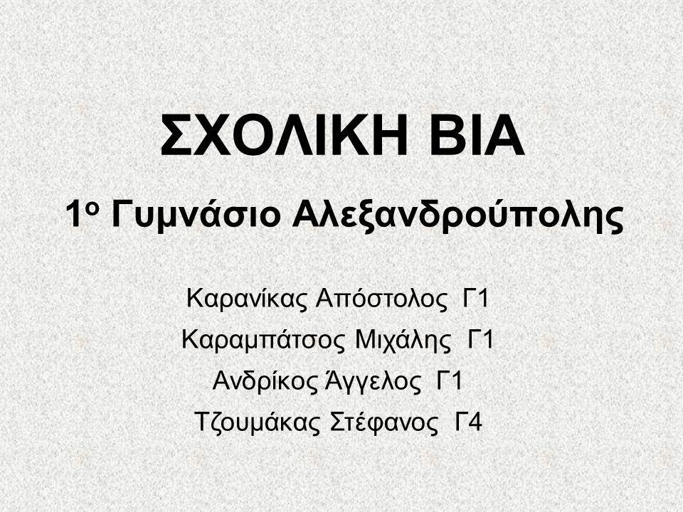 ΣΧΟΛΙΚΗ ΒΙΑ 1 ο Γυμνάσιο Αλεξανδρούπολης Καρανίκας Απόστολος Γ1 Καραμπάτσος Μιχάλης Γ1 Ανδρίκος Άγγελος Γ1 Τζουμάκας Στέφανος Γ4