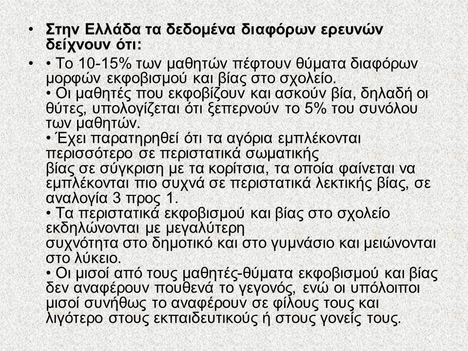 Στην Ελλάδα τα δεδομένα διαφόρων ερευνών δείχνουν ότι: Το 10-15% των μαθητών πέφτουν θύματα διαφόρων μορφών εκφοβισμού και βίας στο σχολείο. Οι μαθητέ