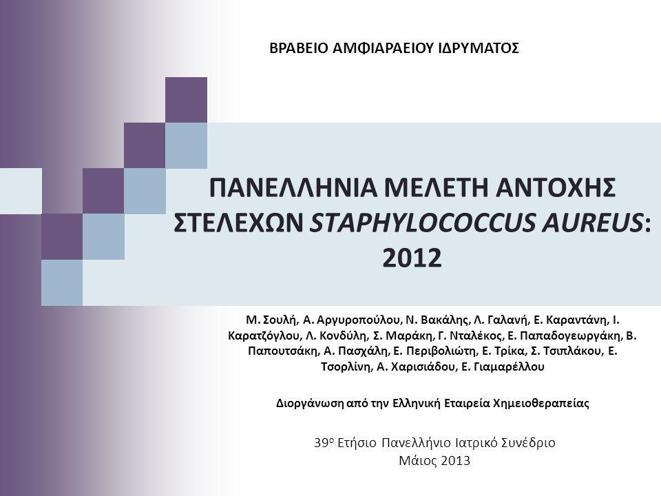 39 ο Ετήσιο Πανελλήνιο Ιατρικό Συνέδριο Μάιος 2013 ΠΑΝΕΛΛΗΝΙΑ ΜΕΛΕΤΗ ΑΝΤΟΧΗΣ ΣΤΕΛΕΧΩΝ STAPHYLOCOCCUS AUREUS: 2012 M. Σουλή, A. Αργυροπούλου, N. Βακάλη
