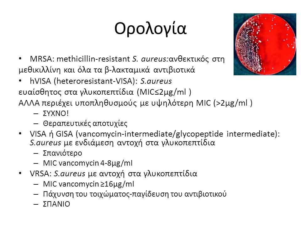 Νεώτερα αντισταφυλοκοκκικά Κεφταρολίνη (Zinforo™, AstraZeneca) – Αντισταφυλοκοκκική πενικιλλίνη με αντι-MRSA δραστικότητα Τελαβανσίνη Vibativ (Theravance Pharmaceuticals, Clinigen ) – Λιπογλυκοπεπτίδιο – Νοσοκομειακή πνευμονία, Λοιμώξεις δέρματος-μαλακών μορίων – Άπαξ ημερησίως – Νεφροτοξικοτητα Νταλμπαβανσίνη (dalbavancin, Dalvance, Durata Therapeutics,Ιnc) – Λιπογλυκοπεπτίδιο – Εγκριση για λοιμώξεις δερματος μαλακών μοριων – V infusion of 1000 mg on day 1 and a 500 mg IV on day 8 Τεδιζολίδη(Sivextro, Cubist Pharmaceuticals, Inc), – Οξαζολιδινόνη – Εγκριση για λοιμώξεις δερματος μαλακών μοριων – Ενδοφλέβιο και από του στόματος Οριταβανσίνη (ORBACTIV™, The Medicines Company) – Άπαξ δόση – Ημισυνθετικό γλυκοπεπτίδιο