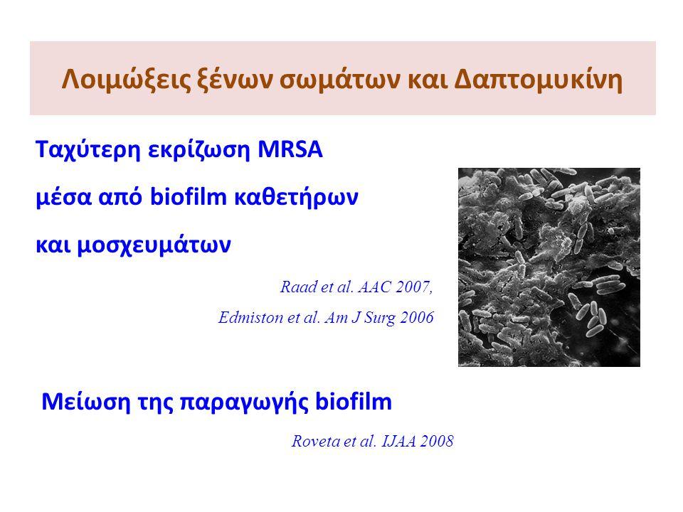 Λοιμώξεις ξένων σωμάτων και Δαπτομυκίνη Ταχύτερη εκρίζωση MRSA μέσα από biofilm καθετήρων και μοσχευμάτων Raad et al. AAC 2007, Edmiston et al. Am J S