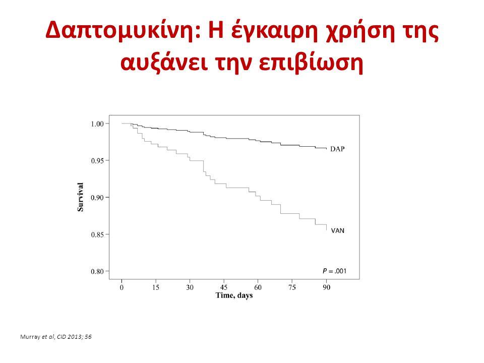 Δαπτομυκίνη: Η έγκαιρη χρήση της αυξάνει την επιβίωση Murray et al, CID 2013; 56