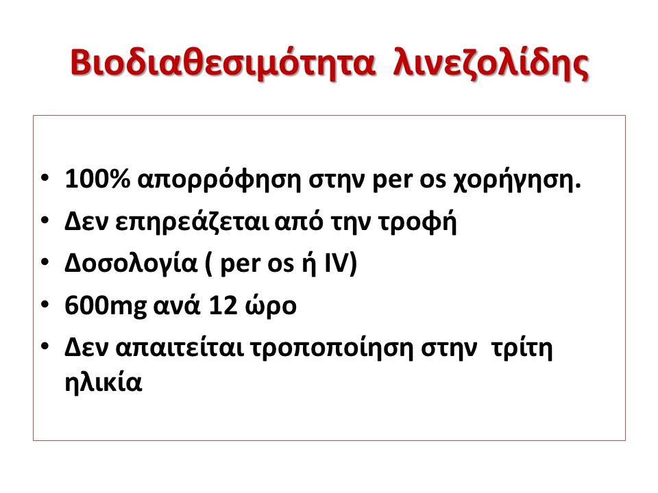 Βιοδιαθεσιμότητα λινεζολίδης 100% απορρόφηση στην per os χορήγηση. Δεν επηρεάζεται από την τροφή Δοσολογία ( per os ή IV) 600mg ανά 12 ώρο Δεν απαιτεί