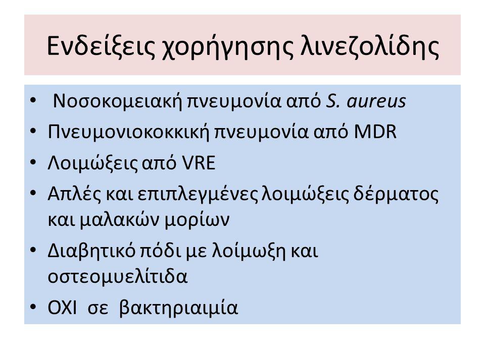 Ενδείξεις χορήγησης λινεζολίδης Νοσοκομειακή πνευμονία από S. aureus Πνευμονιοκοκκική πνευμονία από MDR Λοιμώξεις από VRE Απλές και επιπλεγμένες λοιμώ