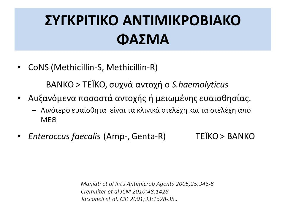 ΣΥΓΚΡΙΤΙΚΟ ΑΝΤΙΜΙΚΡΟΒΙΑΚΟ ΦΑΣΜΑ CoNS (Methicillin-S, Methicillin-R) ΒΑΝΚΟ > ΤΕΪΚΟ, συχνά αντοχή ο S.haemolyticus Αυξανόμενα ποσοστά αντοχής ή μειωμένη