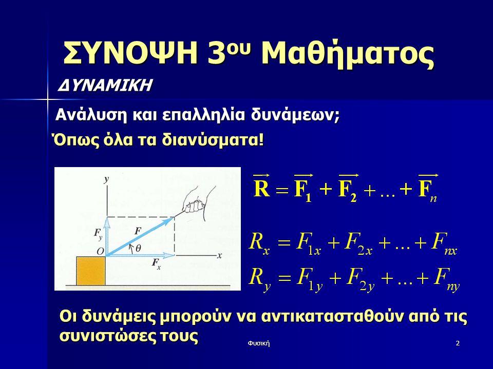 Φυσική2 ΣΥΝΟΨΗ 3 ου Μαθήματος ΔΥΝΑΜΙΚΗ Ανάλυση και επαλληλία δυνάμεων; Όπως όλα τα διανύσματα.