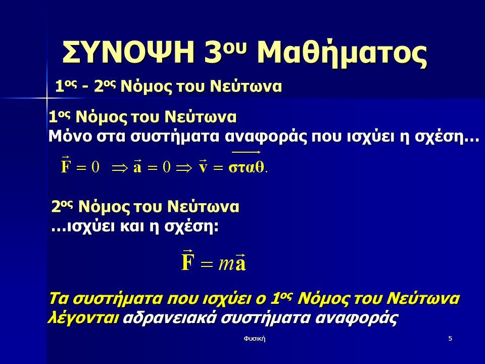 Φυσική5 ΣΥΝΟΨΗ 3 ου Μαθήματος 1 ος - 2 ος Νόμος του Νεύτωνα Τα συστήματα που ισχύει ο 1 ος Νόμος του Νεύτωνα λέγονται αδρανειακά συστήματα αναφοράς 1 ος Νόμος του Νεύτωνα Μόνο στα συστήματα αναφοράς που ισχύει η σχέση… 2 ος Νόμος του Νεύτωνα …ισχύει και η σχέση: