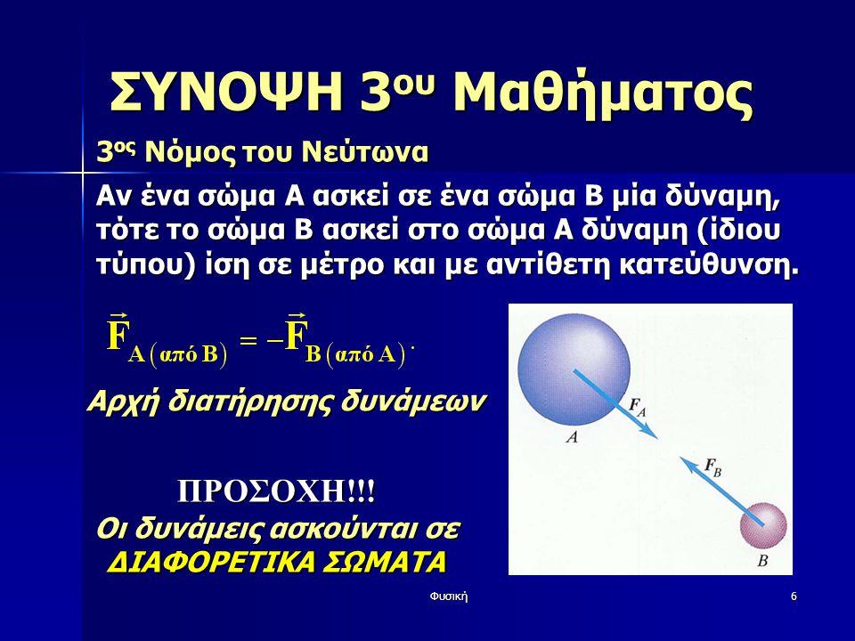 Φυσική6 ΣΥΝΟΨΗ 3 ου Μαθήματος 3 ος Νόμος του Νεύτωνα Αν ένα σώμα Α ασκεί σε ένα σώμα B μία δύναμη, τότε το σώμα Β ασκεί στο σώμα Α δύναμη (ίδιου τύπου) ίση σε μέτρο και με αντίθετη κατεύθυνση.